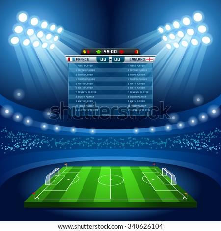 Soccer Stadium Score Board Empty Field Background. Stadium Nocturnal View Illustration. Building Image. International Football Championship Cup - stock photo