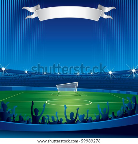 Soccer stadium with fans-background for your text - stock photo