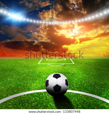soccer stadium with the dright lights - stock photo