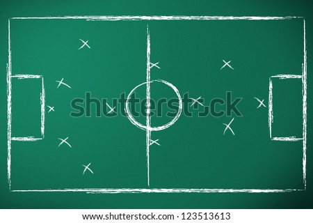 soccer tactics designed on green chalk board