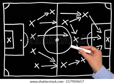 Soccer Tactics on Chalkboard with female Hand