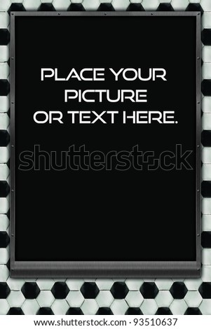 soccer themed mat frame 24X36. Place your favorite individual or team soccer picture, or message inside this custom frame! - stock photo