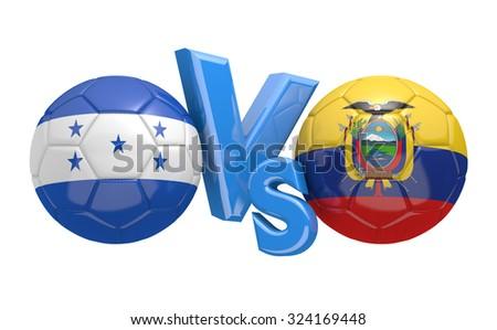 Soccer versus match between national teams Honduras and Ecuador - stock photo
