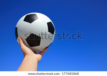 Soccer with blue sky - horizontal