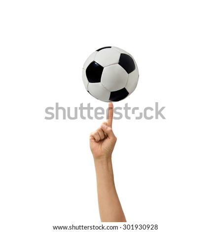 soccerball in a hand the isolated - stock photo