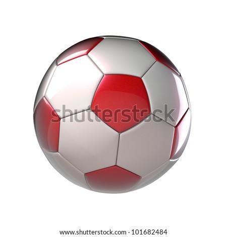 Soccerball Poland 3D on white - stock photo