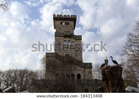 Sochi, a lookout tower in the Roman style, on top of Mount Akhun - stock photo
