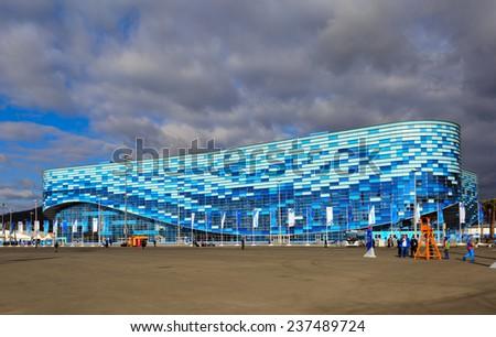 SOCHI, ADLER, RUSSIA - FEB 06, 2014: Iceberg Skating Palace at Olympic Park in Adlersky District, Krasnodar Krai - venue for the 2014 winter Olympics - stock photo