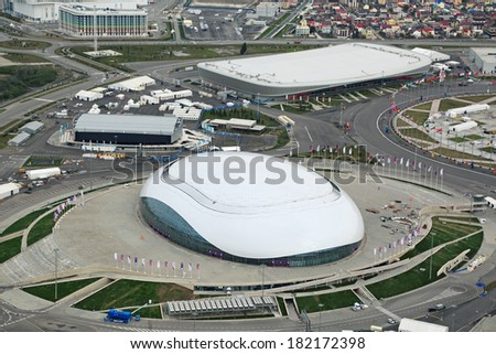 SOCHI, ADLER, RUSSIA - MAR 02, 2014: Bolshoy Ice Dome and Adler Arena Skating Center at Olympic Park in Adlersky District, Krasnodar Krai - venue for the 2014 winter Olympics, top view