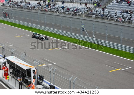 SOCHI/RUSSIA -  APRIL 30, 2016; The Russian Formula 1 Grand prix. Qualification races at Sochi Autodrome. Nico Rosberg from Mercedes AMG Petronas Formula One team.