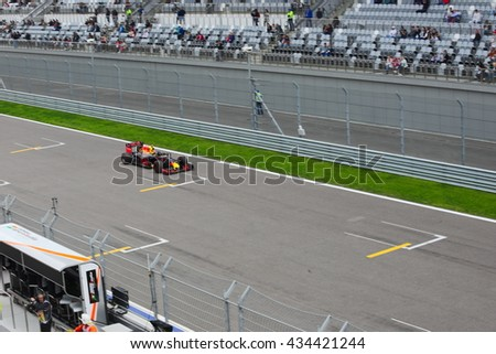 SOCHI/RUSSIA -  APRIL 30, 2016; The Russian Formula 1 Grand prix. Qualification races at Sochi Autodrome. Russian racer Daniil Kvyat and Red Bull Racing team.
