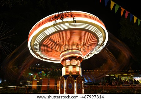 Sochi, Russia. 12 Aug 2016. Fair rides, night scene long exposure. Only for editorial
