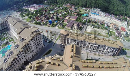 SOCHI, RUSSIA - AUG 1, 2014: Top view of the Marriott Hotel and Apartments in Krasnaya Polyana