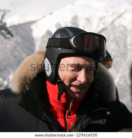 SOCHI, RUSSIA  FEB 18, 2011: Russian President Vladimir Putin skiing in the ski resort Laura on February 18, 2011.