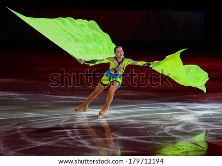 Sochi, RUSSIA - February 22, 2014: Adelina SOTNIKOVA at Figure Skating Exhibition Gala at Sochi 2014 XXII Olympic Winter Games - stock photo