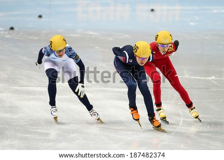 Sochi, RUSSIA - February 18, 2014: Alang KIM (KOR) No.136 at Ladies' 1000 m Short Track Heats at the Sochi 2014 Olympic Games