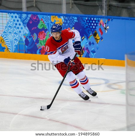 Sochi, RUSSIA - February 18, 2014: Ales HEMSKY (CZE) on ice during Ice hockey Men's Play-offs Qualifications Game vs. Slovakia team at the Sochi 2014 Olympic Games - stock photo