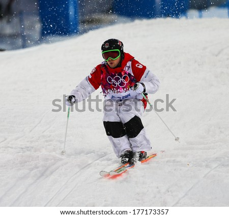 Sochi, RUSSIA - February 10, 2014: Alex BILODEAU (CAN) at Freestyle skiing. Men's Moguls Qualification at Sochi 2014 XXII Olympic Winter Games