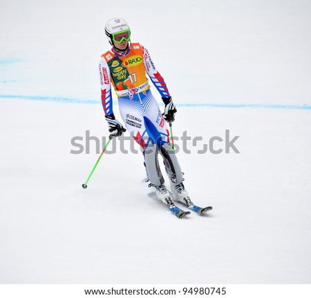 SOCHI, RUSSIA - FEBRUARY 12: Alexis Punturault (France) on FIS Alpine Ski World Cup  2011/2012 in February 12, 2012 Russia, Sochi, Rosa Khutor