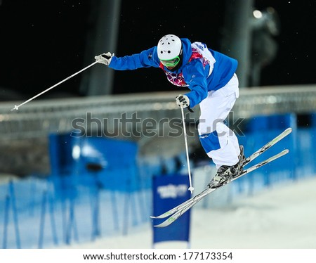Sochi, RUSSIA - February 10, 2014: Benjamin CAVET (FRA) at Freestyle skiing. Men's Moguls Qualification at Sochi 2014 XXII Olympic Winter Games - stock photo