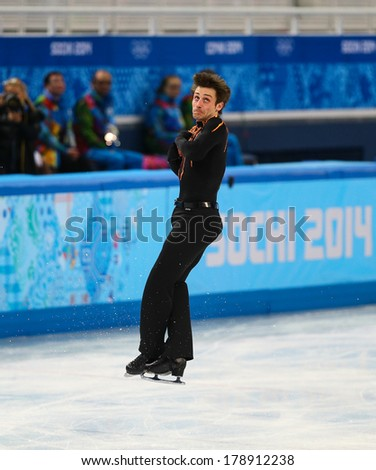 Sochi, RUSSIA - February 13, 2014: Brian JOUBERT (FRA) on ice during figure skating competition of men in short program at Sochi 2014 XXII Olympic Winter Games - stock photo