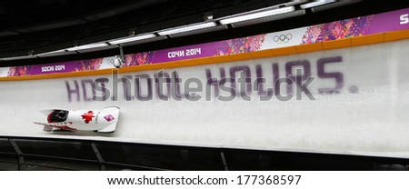 Sochi, RUSSIA - February 16, 2014: Canada 1 team at two-man bobsleigh heat at Sochi 2014 XXII Olympic Winter Games