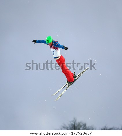 Sochi, RUSSIA - February 16, 2014: Chao WU (CHN) at freestyle Skiing competition during Men's Aerials Qualification at Sochi 2014 XXII Olympic Winter Games
