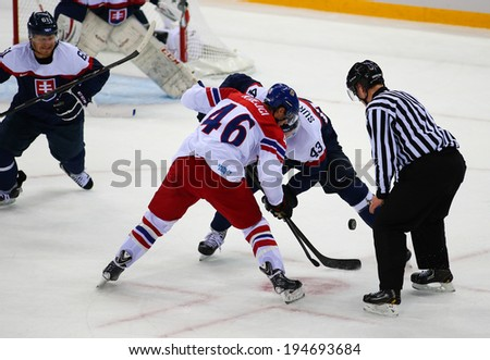 Sochi, RUSSIA - February 18, 2014: David KREJCI (CZE) on ice during Ice hockey Men's Play-offs Qualifications Game vs. Slovakia team at the Sochi 2014 Olympic Games