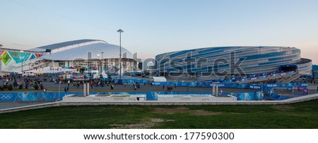 Sochi, RUSSIA - February 16, 2014: Fisht and Shayba during ice hockey Men's Prelim. Round - Group A USA �¢?? RUS match at Sochi 2014 XXII Olympic Winter Games - stock photo