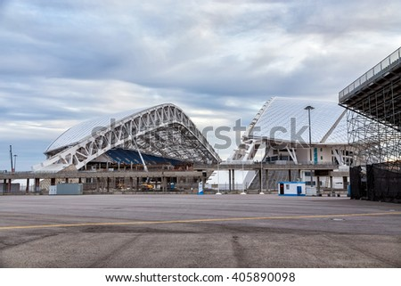 Sochi, Russia - February 5, 2016: Fisht Olympic Stadium. Reconstruction of stadium to host matches of world football championship in 2018 - stock photo