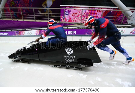 Sochi, RUSSIA - February 16, 2014: Great Britain 1 team at two-man bobsleigh heat at Sochi 2014 XXII Olympic Winter Games - stock photo