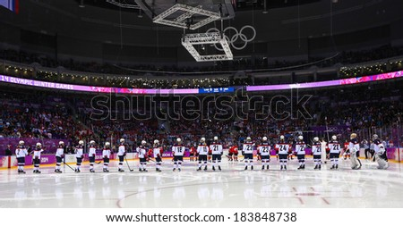 Sochi, RUSSIA - February 20, 2014: Ice hockey. Canada vs. USA Women's Gold Medal Game at the Sochi 2014 Olympic Games - stock photo
