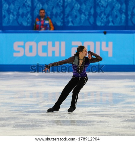 Sochi, RUSSIA - February 13, 2014: Jason BROWN (USA) on ice during figure skating competition of men in short program at Sochi 2014 XXII Olympic Winter Games