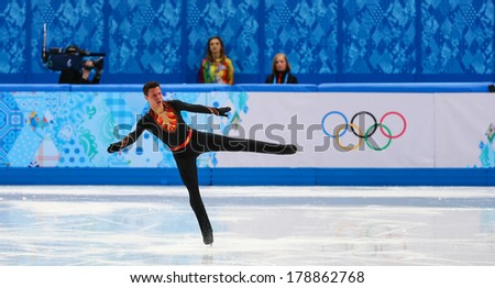 Sochi, RUSSIA - February 13, 2014: Jorik HENDRICKX (BEL) on ice during figure skating competition of men in short program at Sochi 2014 XXII Olympic Winter Games