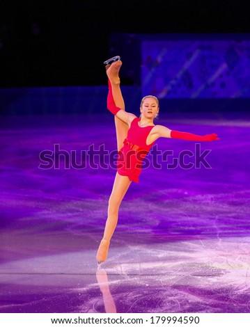 Sochi, RUSSIA - February 22, 2014: Julia LIPNITSKAIA at Figure Skating Exhibition Gala at Sochi 2014 XXII Olympic Winter Games - stock photo