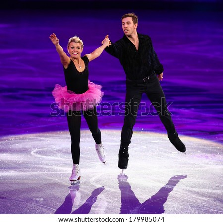 Sochi, RUSSIA - February 22, 2014: Kirsten MOORE-TOWERS and Dylan MOSCOVITCH at Figure Skating Exhibition Gala at Sochi 2014 XXII Olympic Winter Games