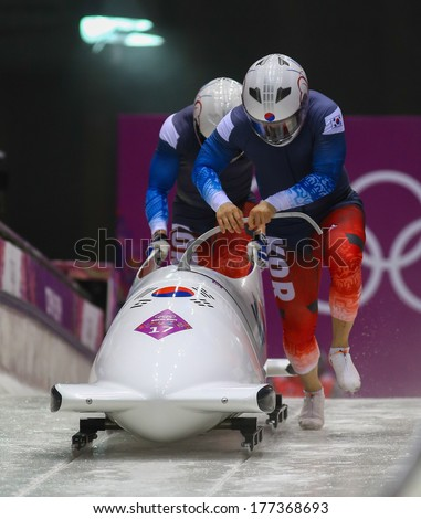 Sochi, RUSSIA - February 16, 2014: Korea 1 team at two-man bobsleigh heat at Sochi 2014 XXII Olympic Winter Games