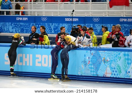 Sochi, RUSSIA - February 18, Korean team celebrates gold medal at Ladies' 3000 m Short Track Relay Final at the Sochi 2014 Olympic Games