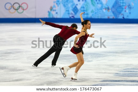 Sochi, RUSSIA - February 11, 2014: Ksenia STOLBOVA and Fedor KLIMOV (RUS) on ice during figure skating competition of pairs in short program at Sochi 2014 XXII Olympic Winter Games