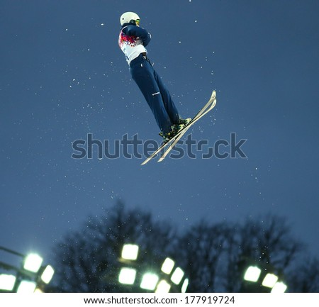 Sochi, RUSSIA - February 16, 2014: Mac BOHONNON (USA) at freestyle Skiing competition during Men's Aerials Qualification at Sochi 2014 XXII Olympic Winter Games