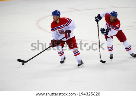 Sochi, RUSSIA - February 18, 2014: Marek ZIDLICKY (CZE) on ice during Ice hockey Men's Play-offs Qualifications Game vs. Slovakia team at the Sochi 2014 Olympic Games