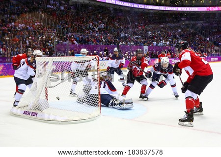 Sochi, RUSSIA - February 20, 2014: Marie-Philip POULIN (CAN) at Canada vs. USA Ice hockey Women's Gold Medal Game at the Sochi 2014 Olympic Games - stock photo