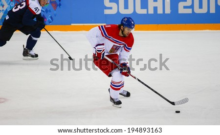 Sochi, RUSSIA - February 18, 2014: Martin HANZAL (CZE) on ice during Ice hockey Men's Play-offs Qualifications Game vs. Slovakia team at the Sochi 2014 Olympic Games