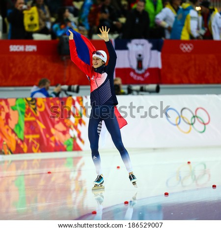 Sochi, RUSSIA - February 19, 2014: Martina SABLIKOVA (CZE) celebrates gold medal in Ladies' 5000 m Speed Skating at the Sochi 2014 Olympic Games