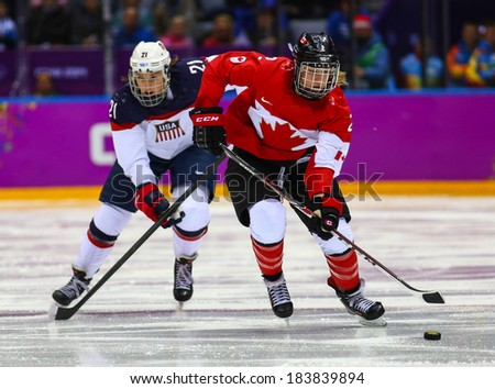 Sochi, RUSSIA - February 20, 2014: Meghan AGOSTA (CAN) at Canada vs. USA Ice hockey Women's Gold Medal Game at the Sochi 2014 Olympic Games - stock photo