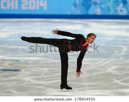 Sochi, RUSSIA - February 13, 2014: Michal BREZINA (CZE) on ice during figure skating competition of men in short program at Sochi 2014 XXII Olympic Winter Games