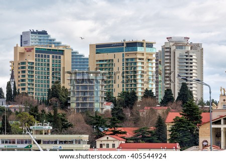 Sochi, Russia - February 8, 2016: Modern luxury hotels on the Black Sea city of Sochi  - stock photo