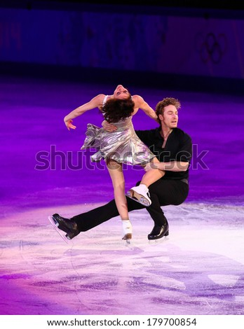 Sochi, RUSSIA - February 22, 2014: Nathalie PECHALAT and Fabian BOURZAT at Figure Skating Exhibition Gala at Sochi 2014 XXII Olympic Winter Games