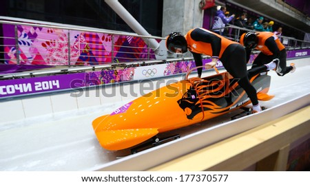 Sochi, RUSSIA - February 16, 2014: Netherlands 1 team at two-man bobsleigh heat at Sochi 2014 XXII Olympic Winter Games