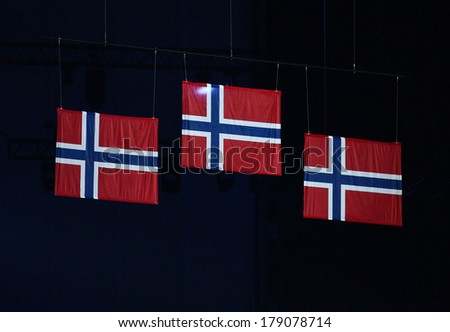 Sochi, RUSSIA - February 23, 2014: Norway flags at closing ceremony in Fisht Olympic Stadium at the Sochi 2014 Olympic Games - stock photo